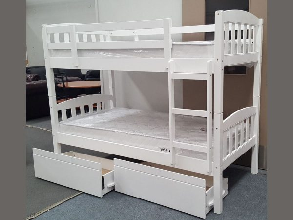 maryl single bunk with 2 drawers white